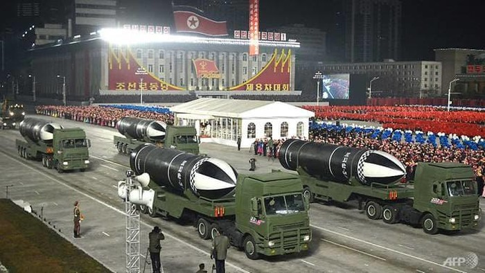 This picture taken on Jan 14, 2021 and released from North Koreas official Korean Central News Agency (KCNA) on Jan15 shows what appears to be submarine-launched ballistic missiles during a military parade celebrating the 8th Congress of the Workers Party of Korea in Pyongyang. (Photo: KCNA via KNS/AFP)