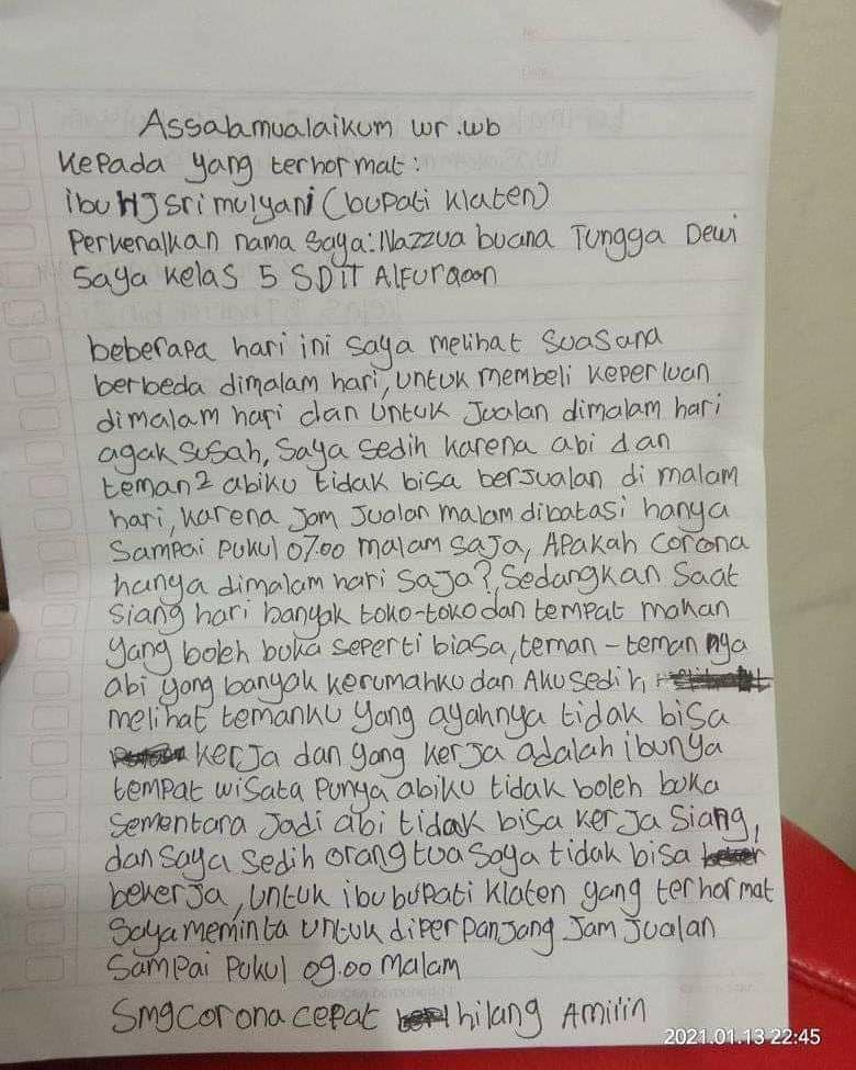 Orangtua Tak Bisa Jualan karena PPKM, Bocah Kelas 5 SD Surati Bupati Klaten