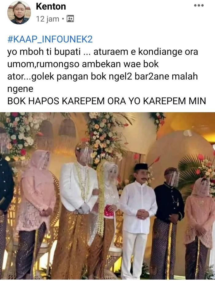 Bupati Pati hadiri nikahan tanpa masker