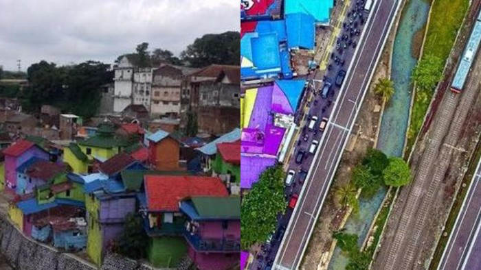 Foto kampung warna-warni Jodipan, Malang dan warna-warni genting di flyover tapal kuda (dok. detikcom)