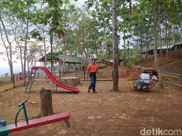 Setibanya di puncak, ada banyak wana wisata lain yang bisa ditemui seperti taman bermain anak-anak, jembatan cinta, atau warung-warung kecil yang disertai dengan saung untuk beristirahat. Pohon pinus dan jati yang menjulang tinggi menambah suasana di Tangga Seribu lebih sejuk dan adem. (Foto: Siti Fatimah/detikcom)