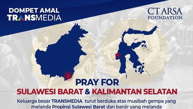Transmedia bersama CT ARSA Foundation mengajak siapapun untuk peduli dan membantu saudara-saudara di Kalimantan Selatan dan Sulawesi Barat. Donasi dapat disalurkan ke rekening yang tertera pada poster.