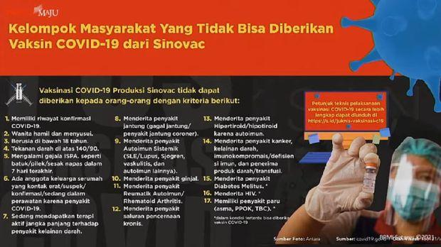 17 kriteria warga yang tidak bisa disuntik vaksin Corona Sinovac.