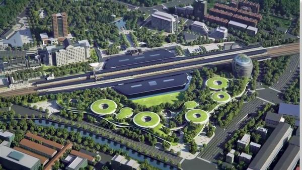 Proyek ini didesain oleh MAD Architects yang mengaplikasikan desain biofilik. Tujuannya mengedepankan konsep alam di tengah gaya yang canggih.Foto: Youtube MAD Architects