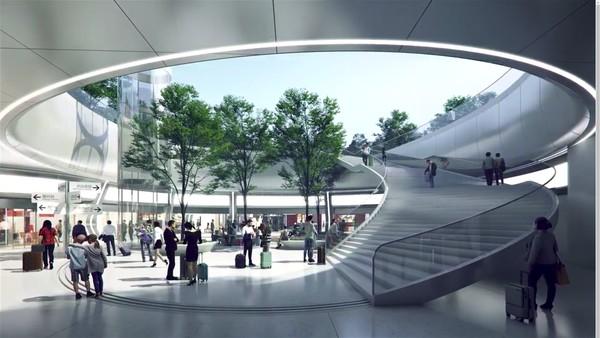 Sementara itu untuk stasiun bawah tanah juga akan dilengkapi ruangan lapang dan terbuka sementara langit-langitnya dilengkapi kaca yang dapat menghadirkan cahaya alami. Di bagian atasnya juga ditanami pohon yang membuatnya rindang. Foto: MAD Architects