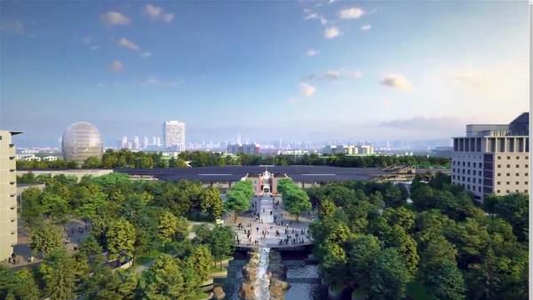 Proyek yang dijuluki Stasiun Kereta di Hutan ini dipimpin oleh Ma Yansong. Ma Yansong ingin menciptakan stasiun yang berbeda dari stasiun lainnya. Ia ingin mewujudkan stasiun kereta perkotaan yang memiliki lingkungan indah, nyaman, dan memadukan fungsi transportasi efisien dengan aspek manusiawi. Foto: MAD Architects