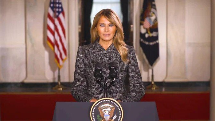 United States First Lady Melania Trump delivers a farewell address in a video posted on social media as she and her husband, President Donald Trump, prepare to leave the White House. (Screengrab: Facebook/First Lady Melania Trump)