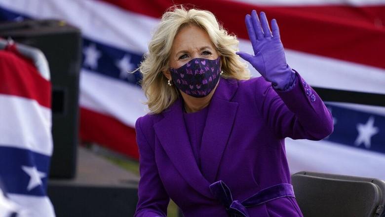 President-elect Joe Bidens wife Jill Biden waves as she attends an event at the Major Joseph R.