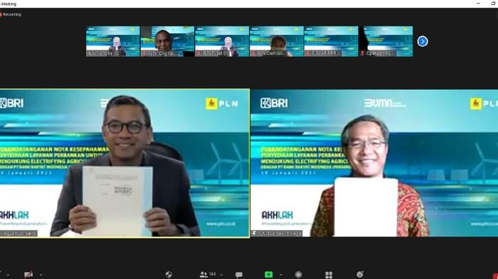 PT Bank Rakyat Indonesia (Persero) Tbk (BBRI) menjalin kerja sama dengan PT PLN (Persero) untuk mendukung program elektrifikasi di sektor pertanian.