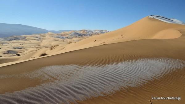 Gurun Sahara di bulan Januari tahun 2021 kembali mendapat perhatian di dunia maya. Bukan karena Anggun yang menyanyikan lagu itu, tapi karena turun salju di gurun itu (Karim Bouchetata)