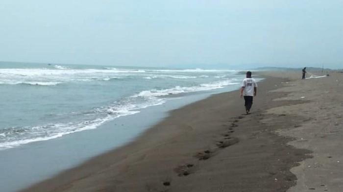 Lokasi kejadian nelayan hilang dihantam ombak besar di Kebumen, Jawa Tengah, Kamis (21/1/2021).