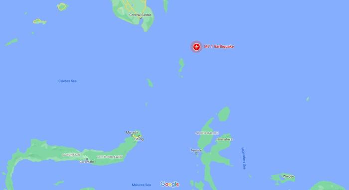Lokasi pusat gempa Sulut, di Kepulauan Talaud. (Tangkapan layar Google Maps)
