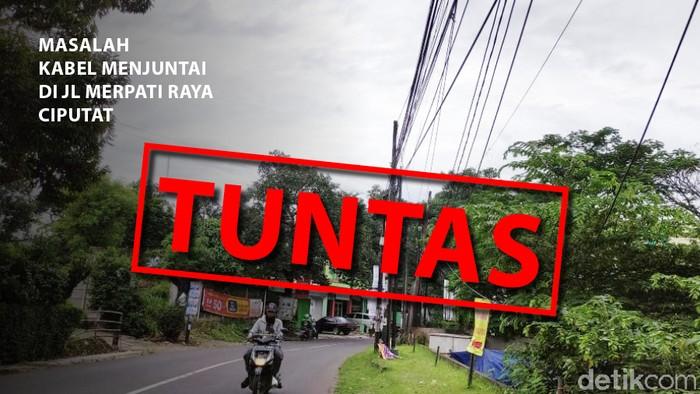 Masalah kabel menjuntai di Jl Merpati Raya, Ciputat, tuntas. (Mindra Purnomo/detikcom)