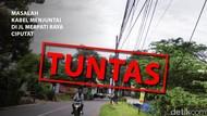 Before-After Kabel di Jl Merpati Raya Ciputat yang Sempat Menjuntai