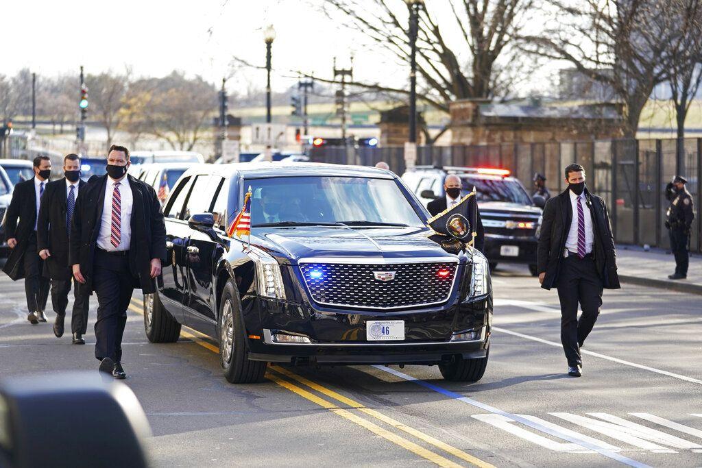 President Joe Biden and First Lady Jill Biden, ride near the White House during a Presidential Escort to the White House, Wednesday, Jan. 20, 2021 in Washington.  (Doug Mills/The New York Times via AP, Pool)