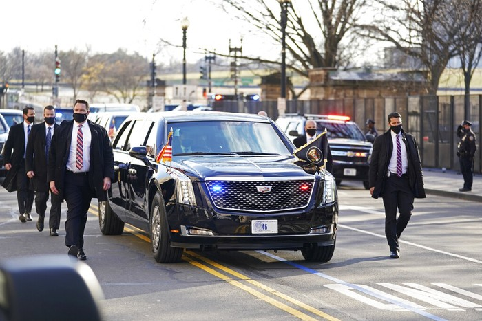 President Joe Biden and First Lady Jill Biden, ride near the White House during a Presidential Escort to the White House, Wednesday, Jan. 20, 2021 in Washington.  (Doug Mills/The New York Times via AP, Pool)