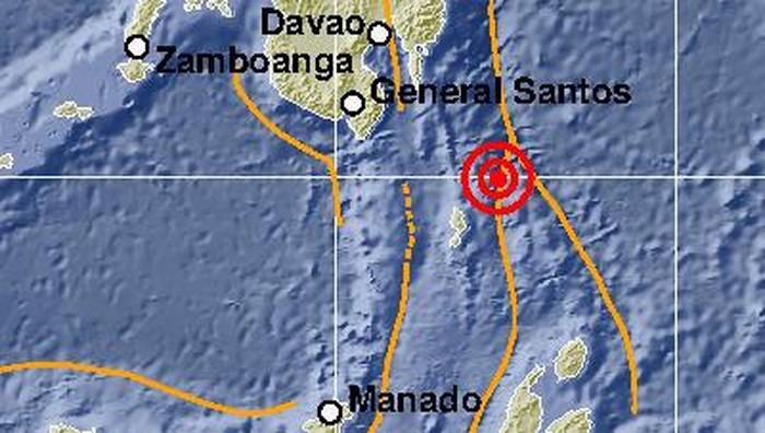Titik gempa di Timur Laut Sulut.