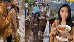 Viral! Kisah Wanita Makan di Pesta Pernikahan yang Kena Banjir