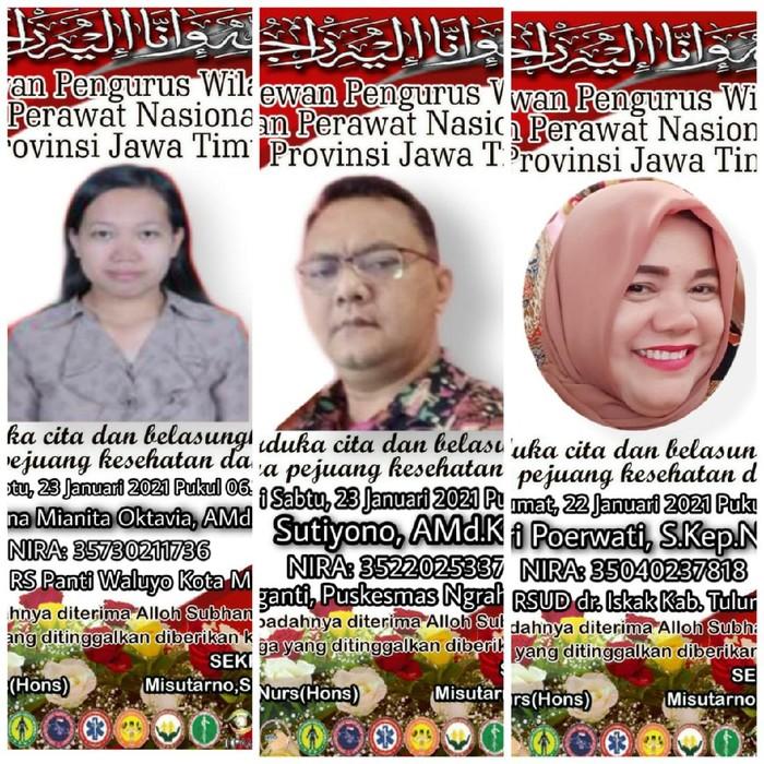 Kabar duka kembali datang dari DPW Persatuan Perawat Nasional Indonesia (PPNI) Jawa Timur. Dalam sehari, tiga perawat meninggal dunia karena terpapar COVID-19.