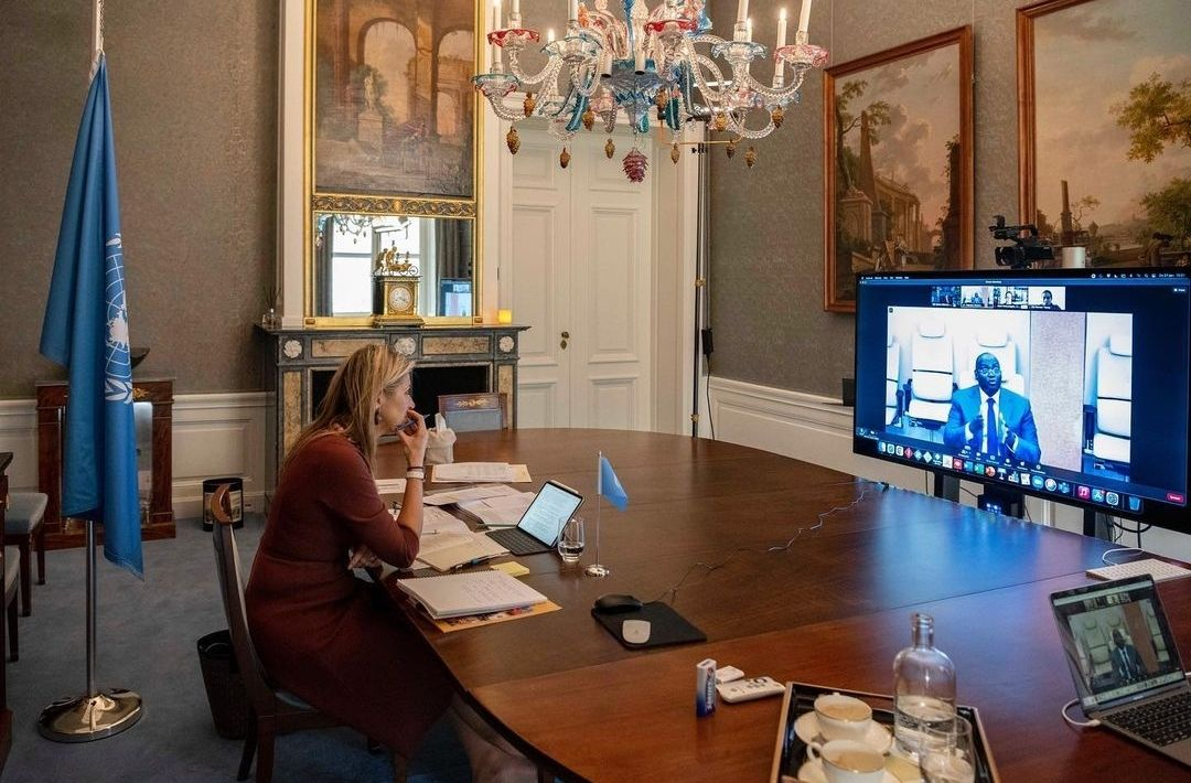 Ratu Maxima saat kunjungan virtual di istana.
