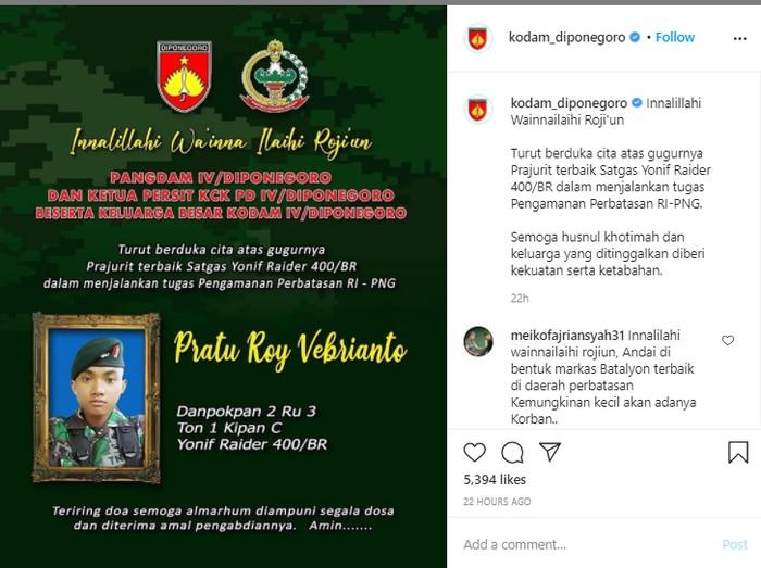 Ucapan duka cita atas meninggalnya prajurit TNI yang ditembak KKB Papua, Sabtu (23/1/2021)