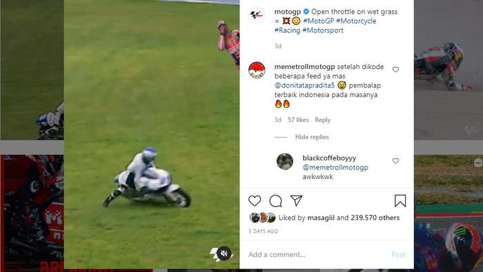 Aksi pebalap Indonesia diunggah di Instagram MotoGP