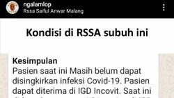 Beredar Kabar soal Stagnasi Pasien COVID-19, RSSA Malang Membantahnya