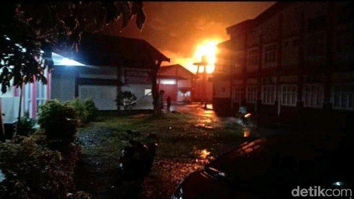 Kebakaran gudang di Purbalingga, Sabtu (24/1/2021).