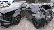 Kecelakaan, Toyota GR Yaris Hitam Ini Ringsek Depan Belakang