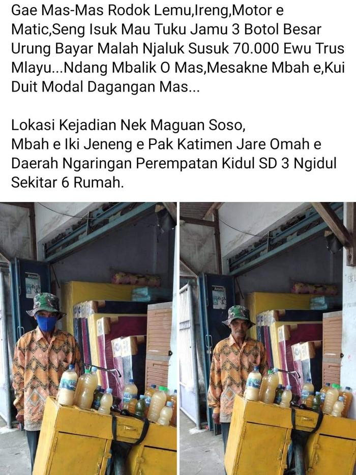 Saat ini tengah viral kisah kakek penjual jamu ditipu pembelinya. Ia memberikan uang kembalian Rp 70 ribu ke pembeli yang belum bayar.