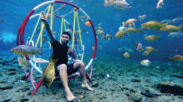 foto underwater dengan ayunan