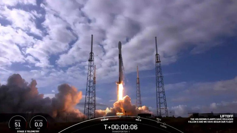 A framegrab of video of the SpaceX launch on January 24, 2021 Handout SPACEX/AFP