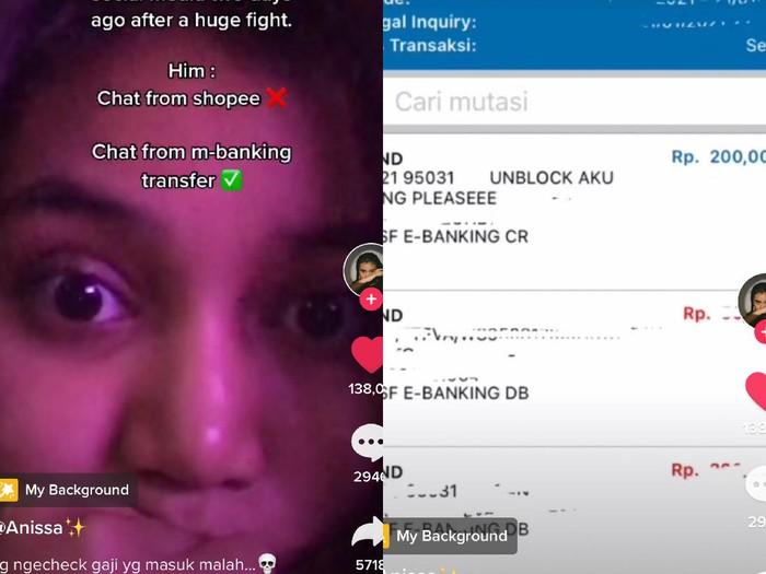 Anissa Mutiara RP yang viral di TikTok. Pacarnya meminta buka blokir di M-banking