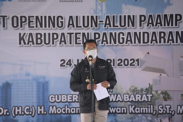 Gubernur Jawa Barat (Jabar) Ridwan Kamil sudah melakukan Soft Opening sekaligus peninjauan Alun-alun Paamprokan yang berada di Jalan Pamugaran, Kabupaten Pangandaran, Minggu (24/1) kemarin.