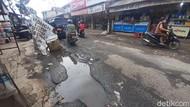 Jl Raya Pabuaran Bogor Rusak-Berlubang, Spanduk Satire: Awas Ada Lele!