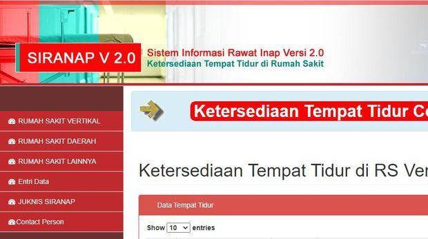 Cek Ketersediaan Tempat Tidur COVID-19 Rumah Sakit di yankes.kemkes.go.id/app/siranap