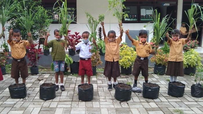 Sejumlah siswa mengikuti Gerakan Penghijauan Indonesia dengan melakukan penanaman pohon di lingkungan sekitar SDN Sonranen Amarasi Selatan, Nusa Tenggara Timur, Selasa (26/1/2021).