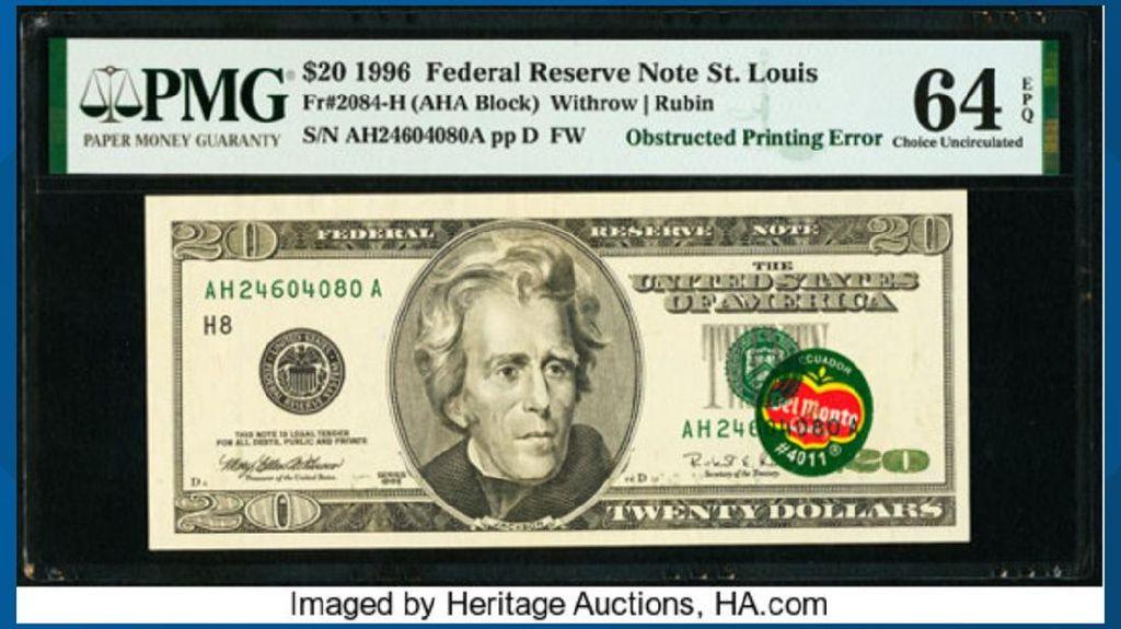 Gokil! Uang US$ 20 Berstiker Ini Dilelang Rp 5 M