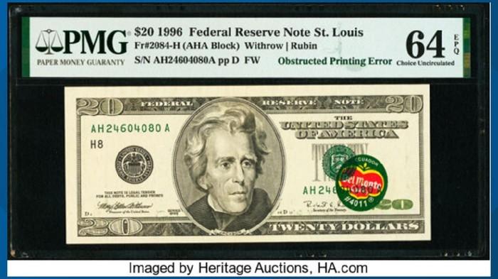 Gokil! Uang US$ 20 Berstiker Del Monte Dilelang Rp 5 M