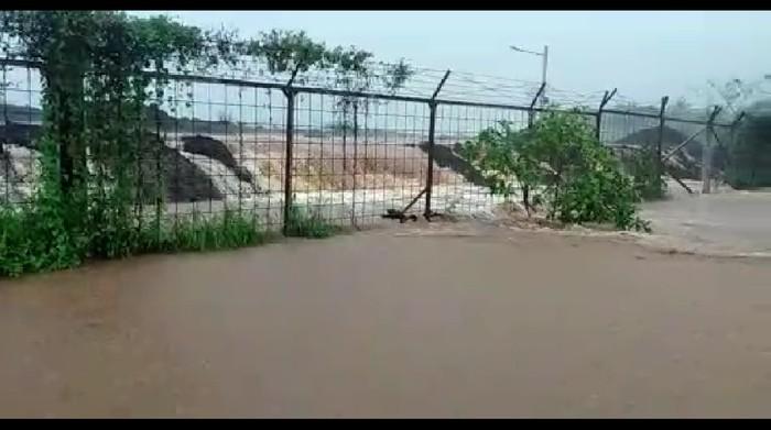 Kondisi banjir di area lahan pembangunan bandara Purbalingga, Rabu (27/1/2021).
