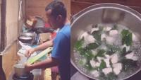 Suami Tabah Masak di Tengah Banjir untuk Istri yang Baru Melahirkan