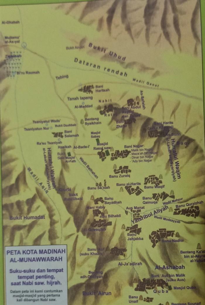 Peta Yatsrib yang kemudian berubah nama menjadi Madinah