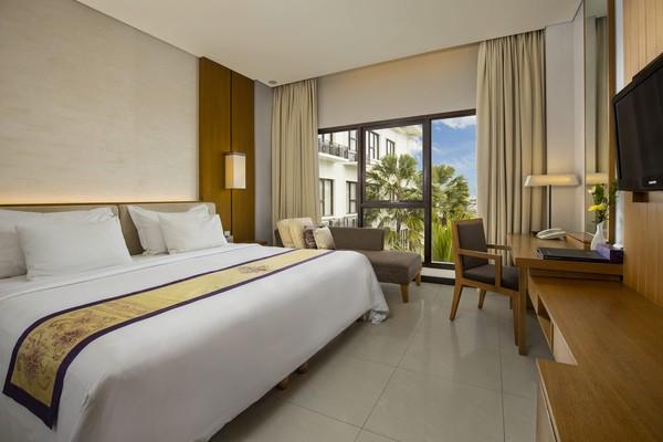 Hotel ini punya lima tipe kamar, yang ini Deluxe Room. (Grand Inna Kuta)