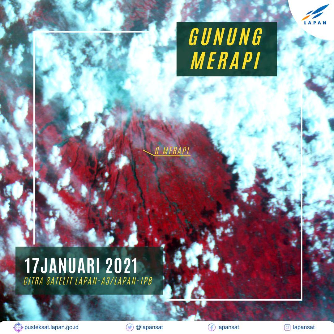 Lapan mengambadikan potret Gunung Merapi dilihat dari luar angkasa.