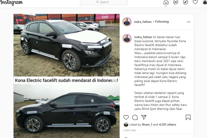 Hyundai Kona electric facelift / Instagram @indra_fathan