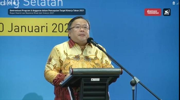 Menristek/Kepala BRIN, Bambang PS Brodjonegoro memaparkan prioritas ristek 2021