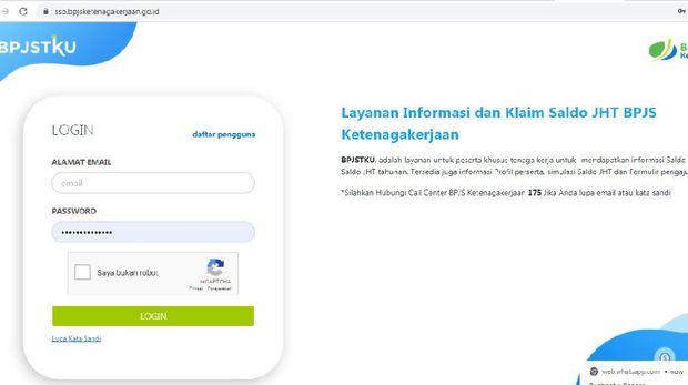 Screenshot SSO BPJS Ketenagakerjaan