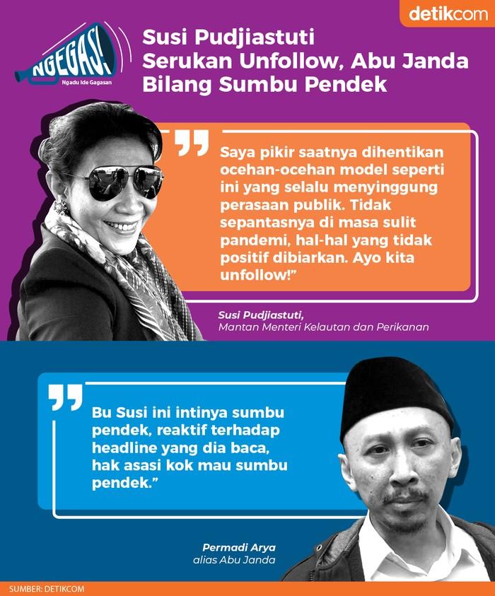 Susi Pudjiastuti vs Abu Janda (Dok. Tim Infografis detikcom)