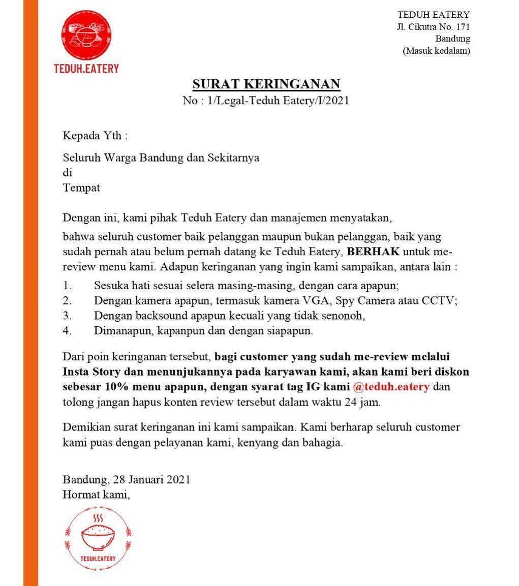 Viral 'Surat Cinta' Eiger, Kafe di Bandung Bikin Surat Keringanan
