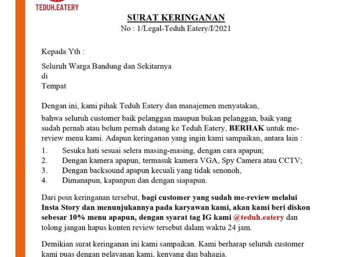 Viral Surat Cinta Eiger, Kafe di Bandung Bikin Surat Keringanan